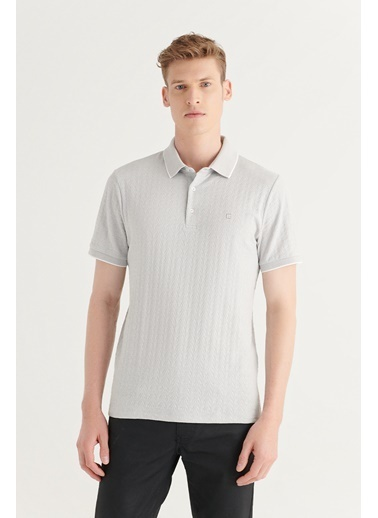 Avva Erkek Polo Yaka Jakarlı T-Shirt A11Y1100 Gri